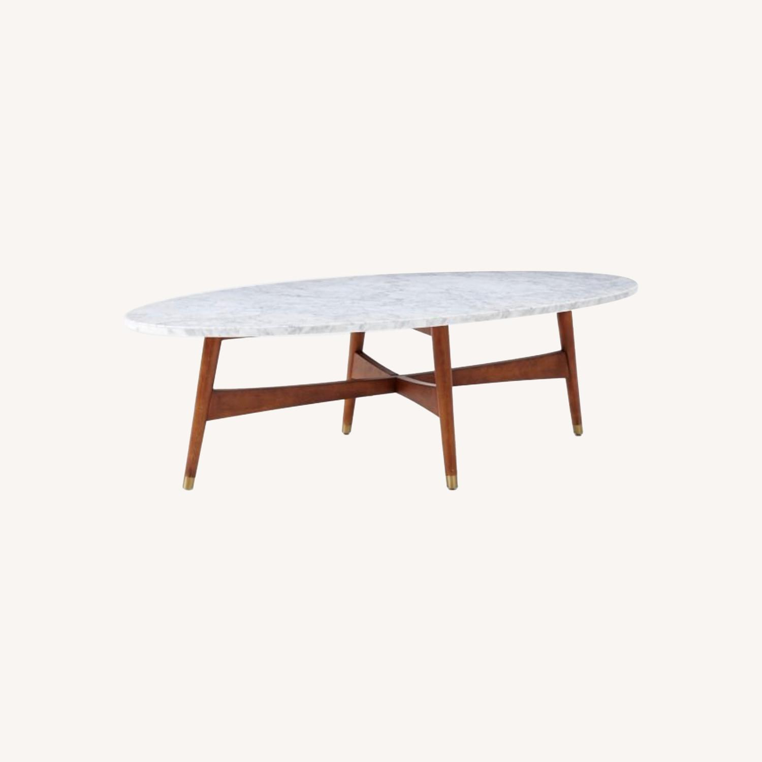 West Elm Reeve Mid-Century Oval Coffee Table - Marble Top - image-0