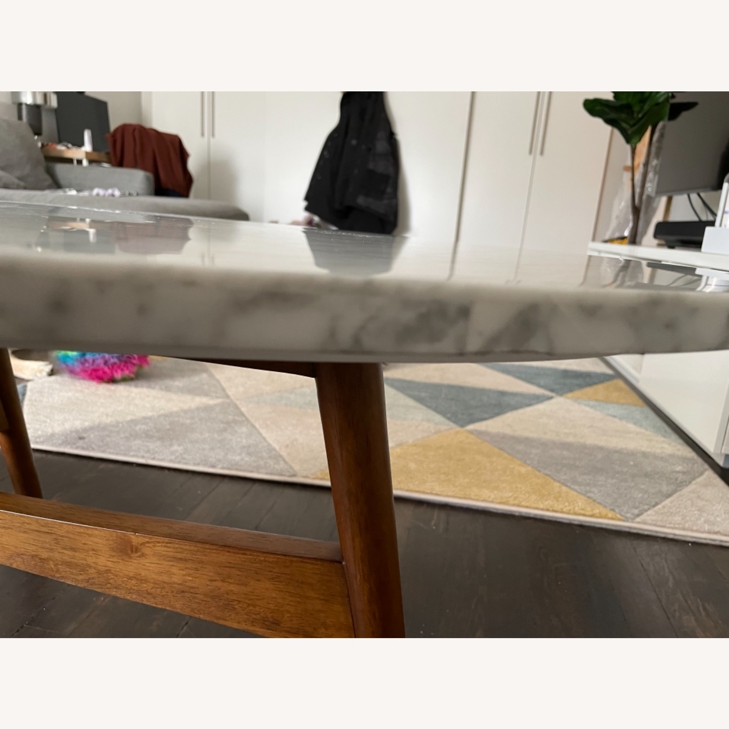West Elm Reeve Mid-Century Oval Coffee Table - Marble Top - image-7