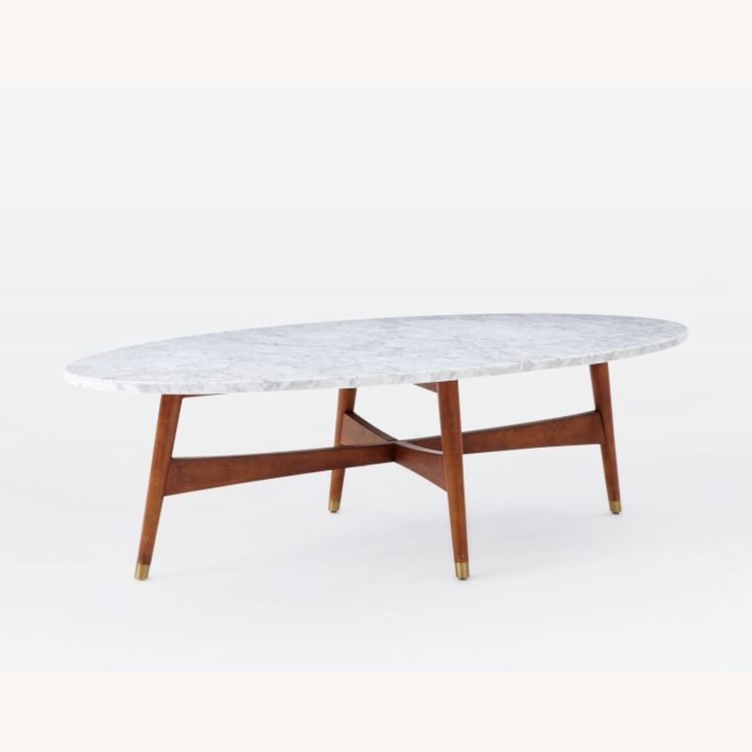 West Elm Reeve Mid-Century Oval Coffee Table - Marble Top - image-1