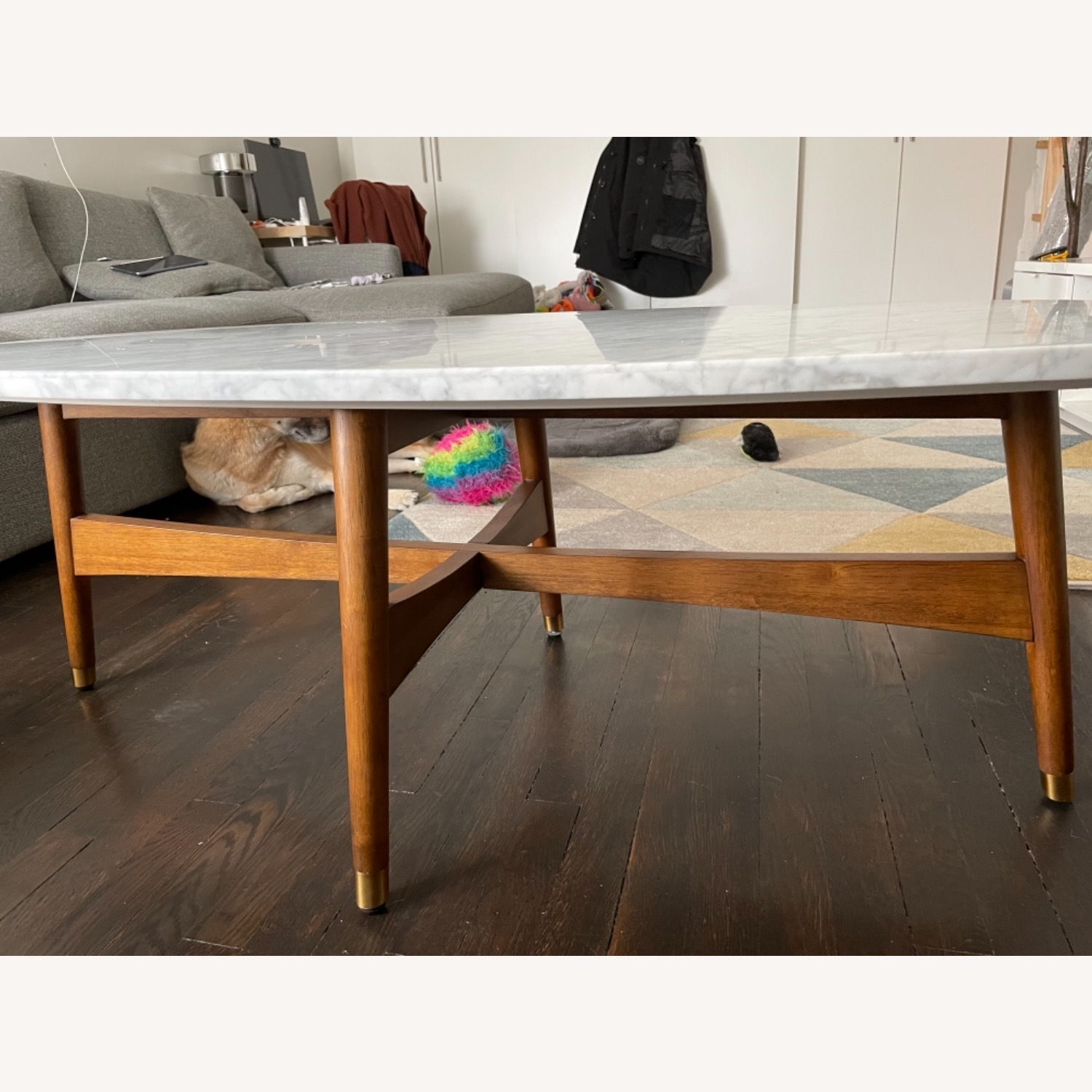 West Elm Reeve Mid-Century Oval Coffee Table - Marble Top - image-2
