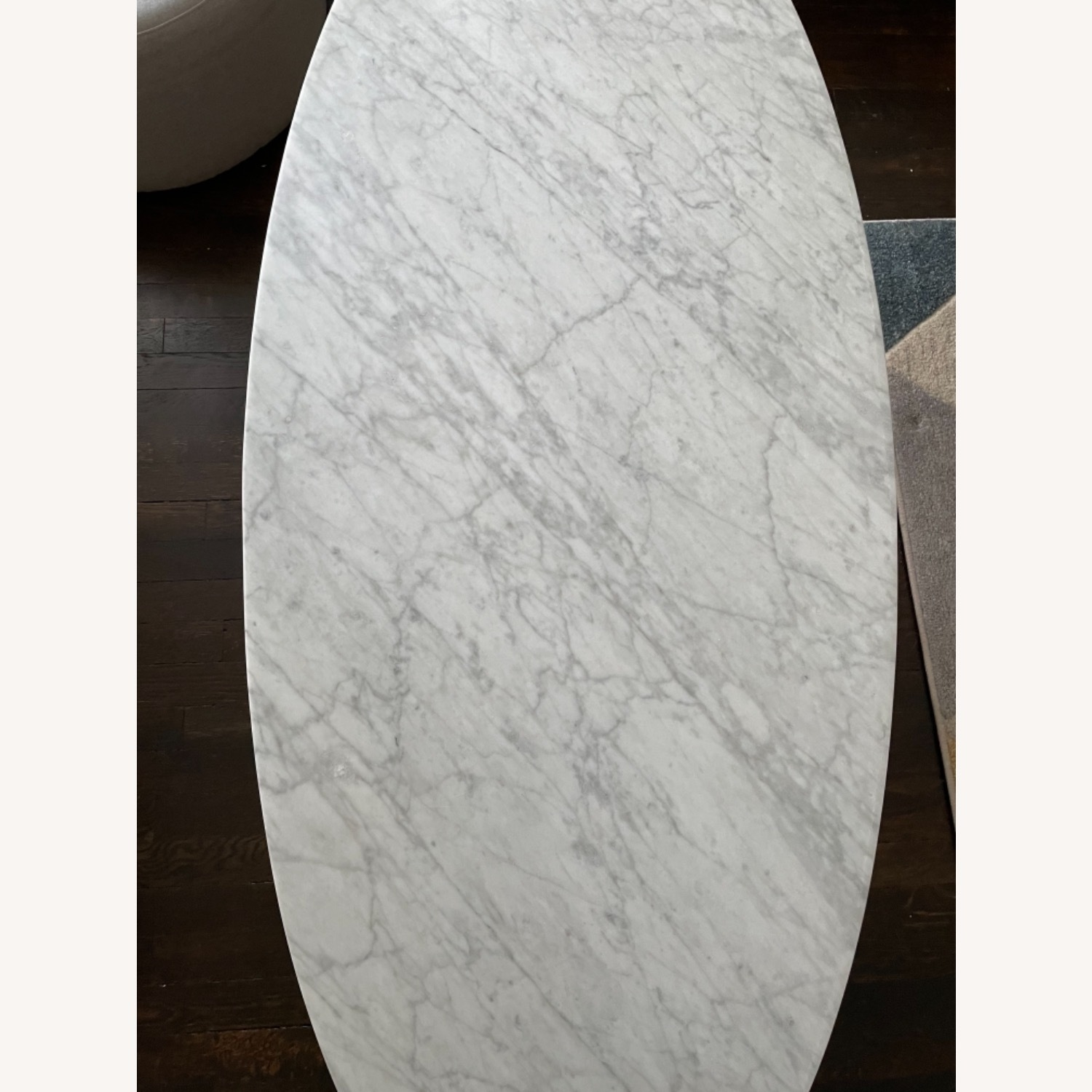 West Elm Reeve Mid-Century Oval Coffee Table - Marble Top - image-4