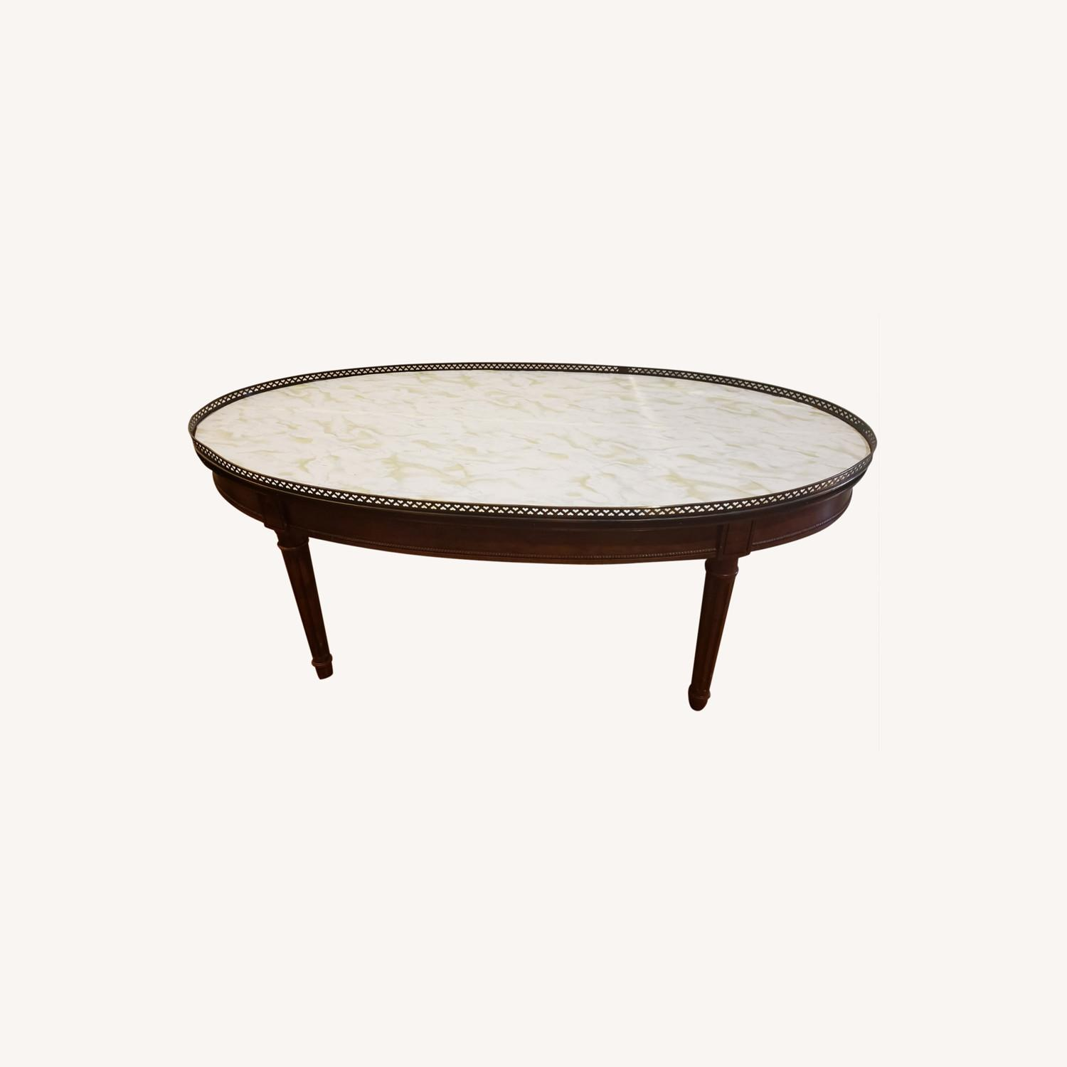 Baker Oval Wood Coffee Table - image-0