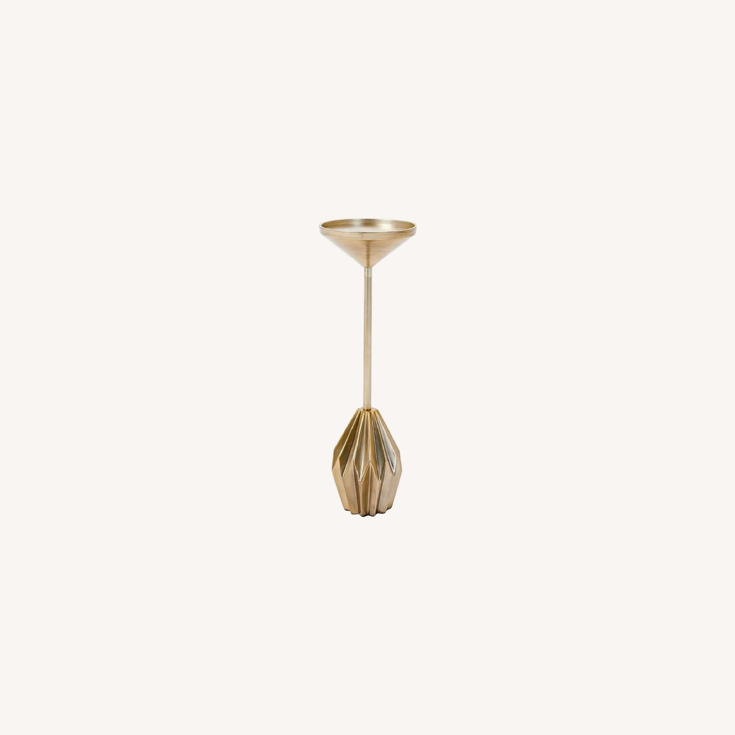 West Elm Brass Faceted Drink Table - image-0