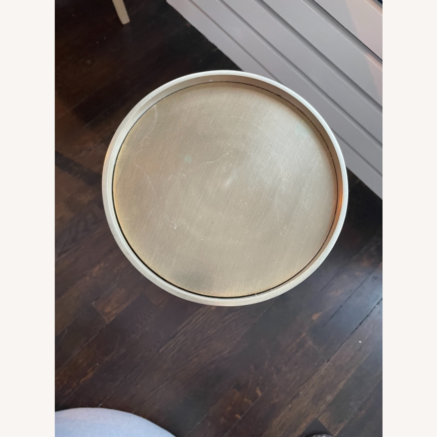 West Elm Brass Faceted Drink Table - image-4