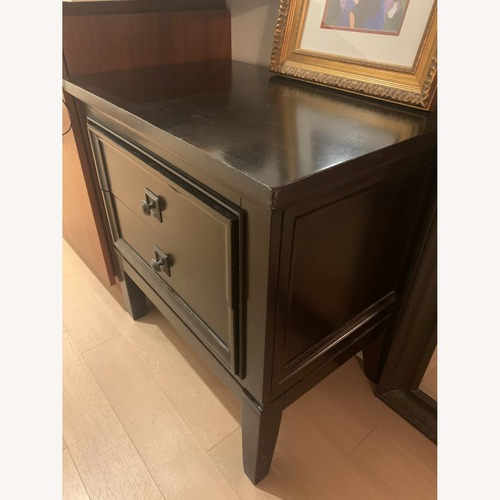Used Raymour & Flanigan Dark Wood Nightstand/Side Table for sale on AptDeco