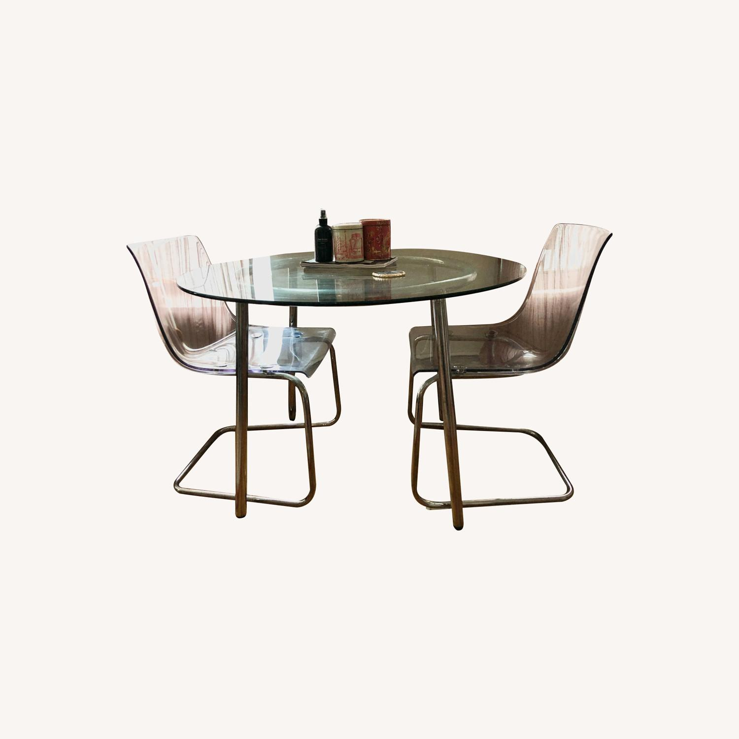 Glass Dining Table With Matching Acrylic Chairs - image-0
