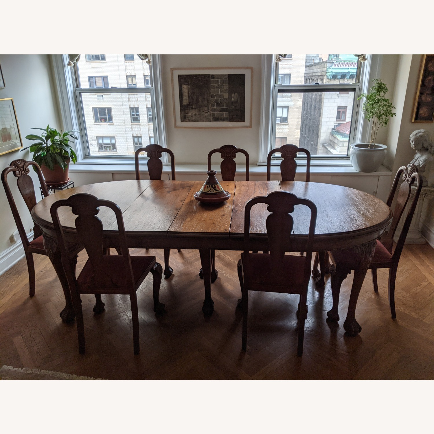 Early 20th Century Walnut Dining Table + Chairs - image-1