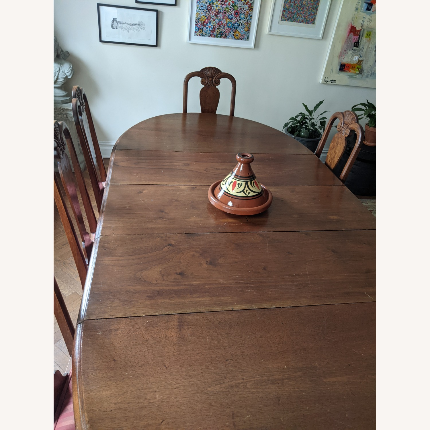 Early 20th Century Walnut Dining Table + Chairs - image-4