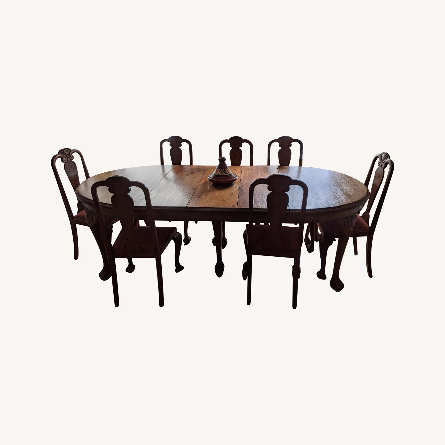 Early 20th Century Walnut Dining Table + Chairs - image-0
