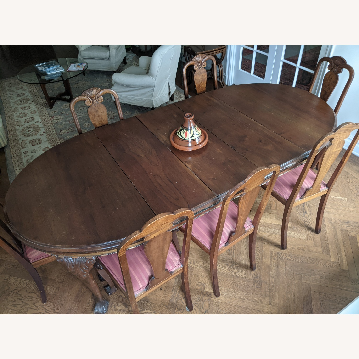 Early 20th Century Walnut Dining Table + Chairs - image-2