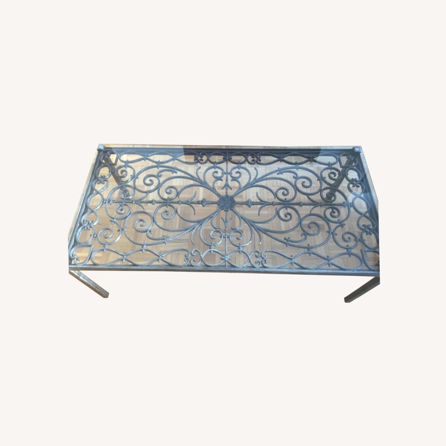 ABC Carpet& Home Scroll Wrought Iron Coffee Table - image-0