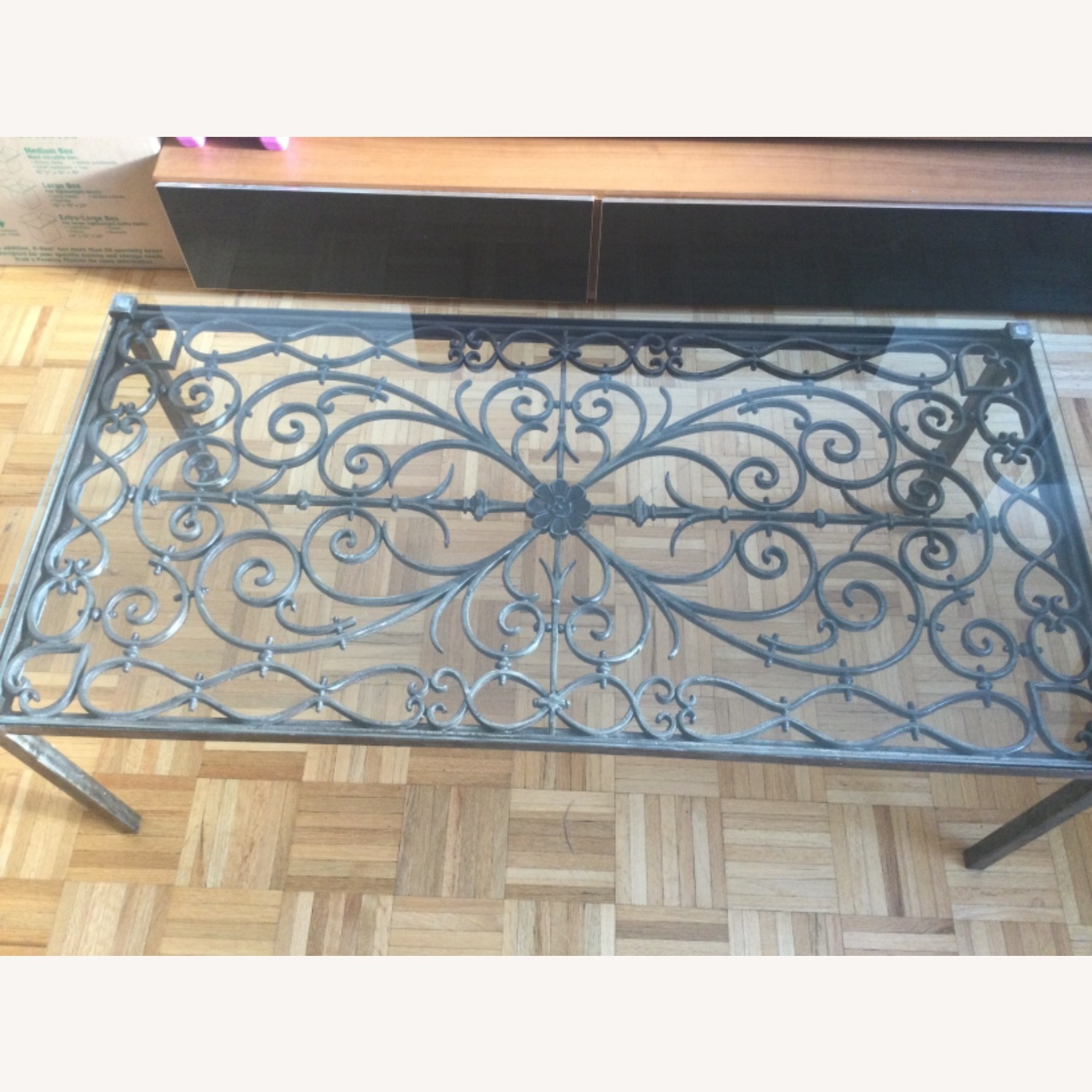 ABC Carpet& Home Scroll Wrought Iron Coffee Table - image-1