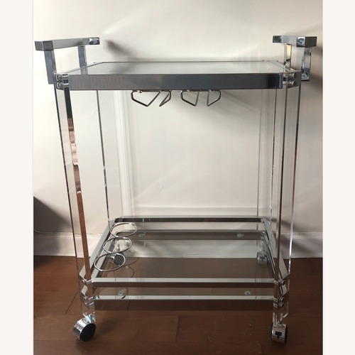 Used Wade Logan Glass Bar Cart with Silver Accents for sale on AptDeco
