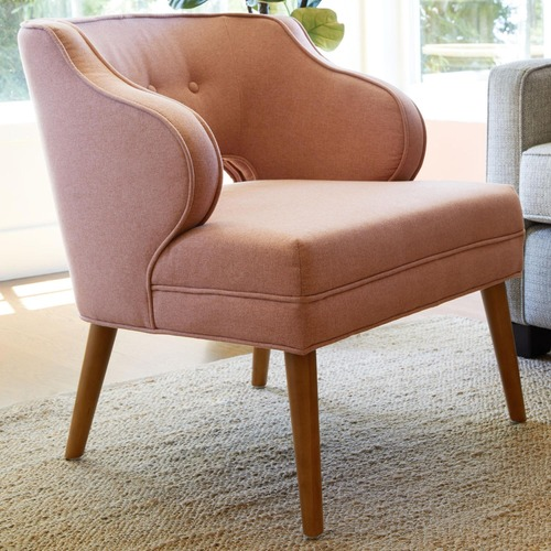 Used World Market Rose Pink Tyley Upholstered Chair for sale on AptDeco
