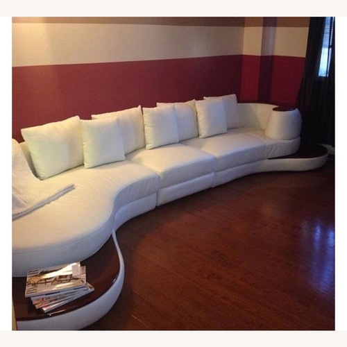 Used Modern In Designs Bonded White Leather Sectional for sale on AptDeco