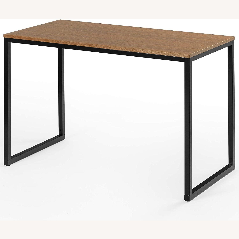47 Inch Black Frame Computer/Office Desk Brown - image-1