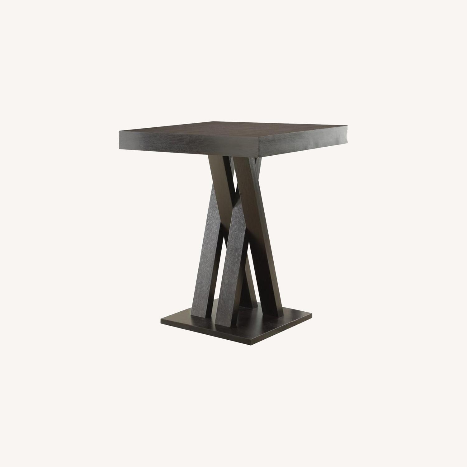 Bar Table In Cappuccino Finish W/ Sculptural base - image-3