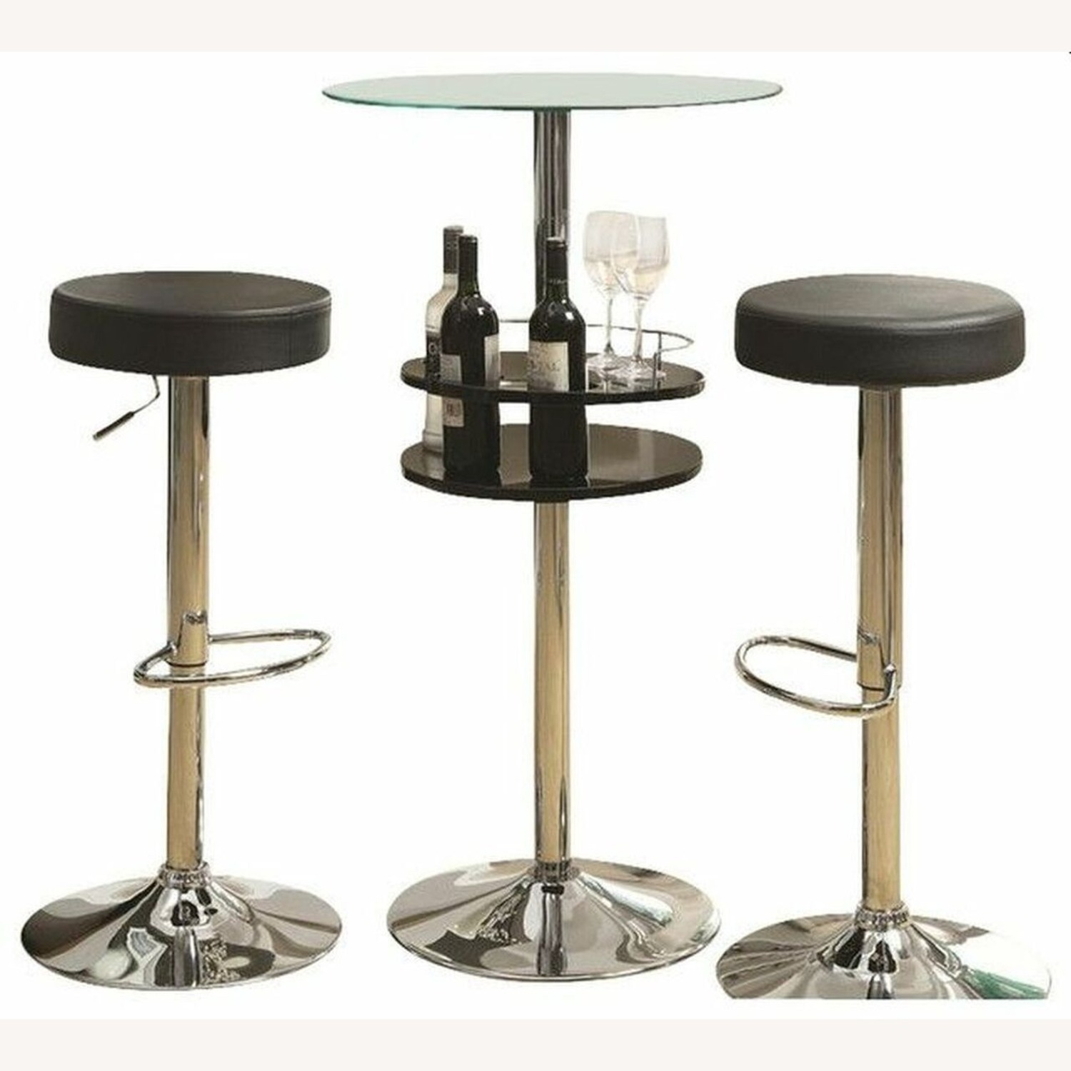 Bar Table In Glossy Black W/ Tall Pedestal Base - image-1
