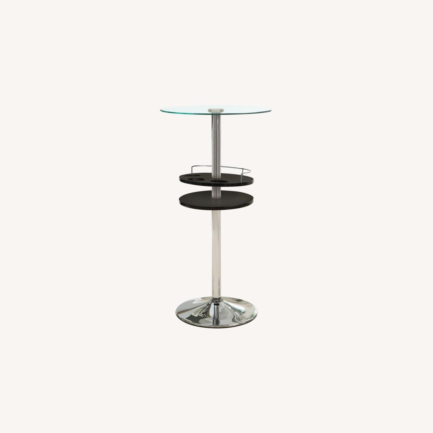 Bar Table In Glossy Black W/ Tall Pedestal Base - image-4