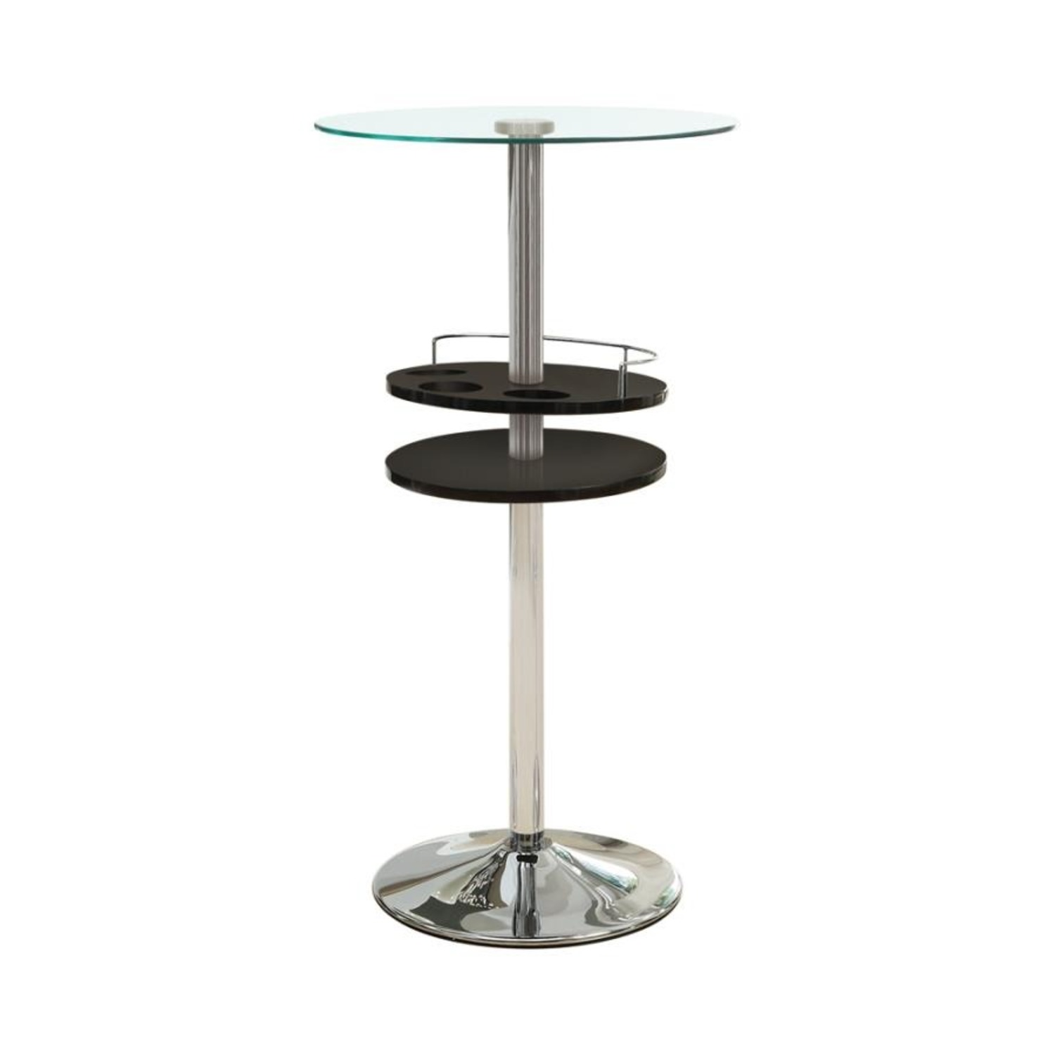 Bar Table In Glossy Black W/ Tall Pedestal Base - image-0