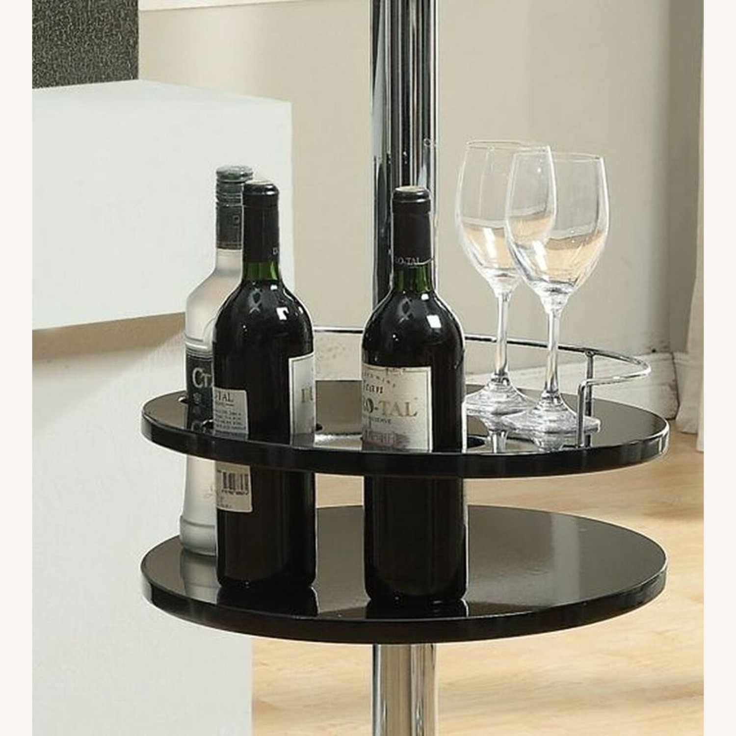 Bar Table In Glossy Black W/ Tall Pedestal Base - image-2