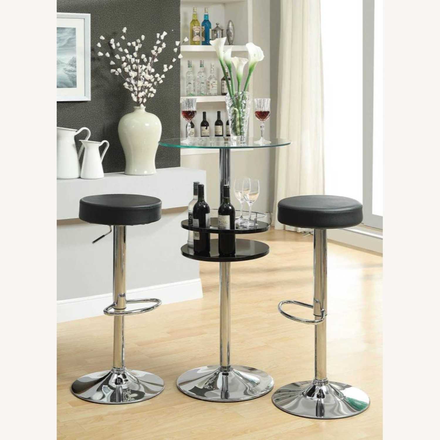 Bar Table In Glossy Black W/ Tall Pedestal Base - image-3