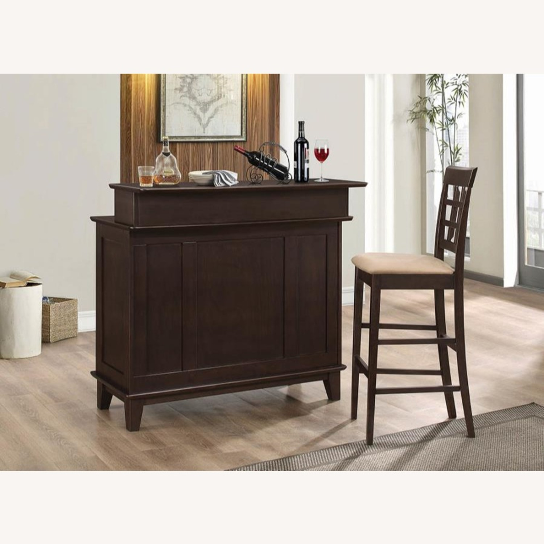 Bar Unit In Cappuccino Finish W/ 2-Tier Top - image-3