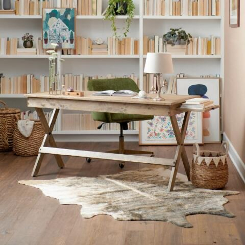 World Market Brown Wood Desk - image-1