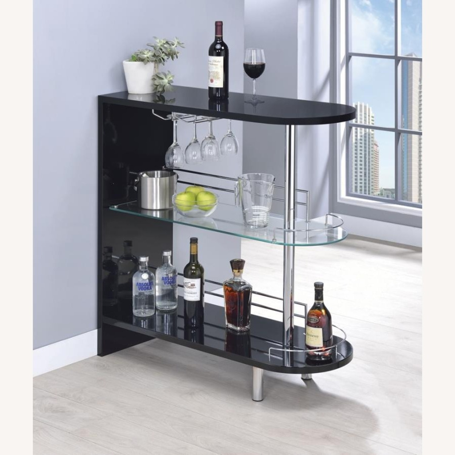 Bar Unit In Glossy Black W/ Rounded Ends - image-6