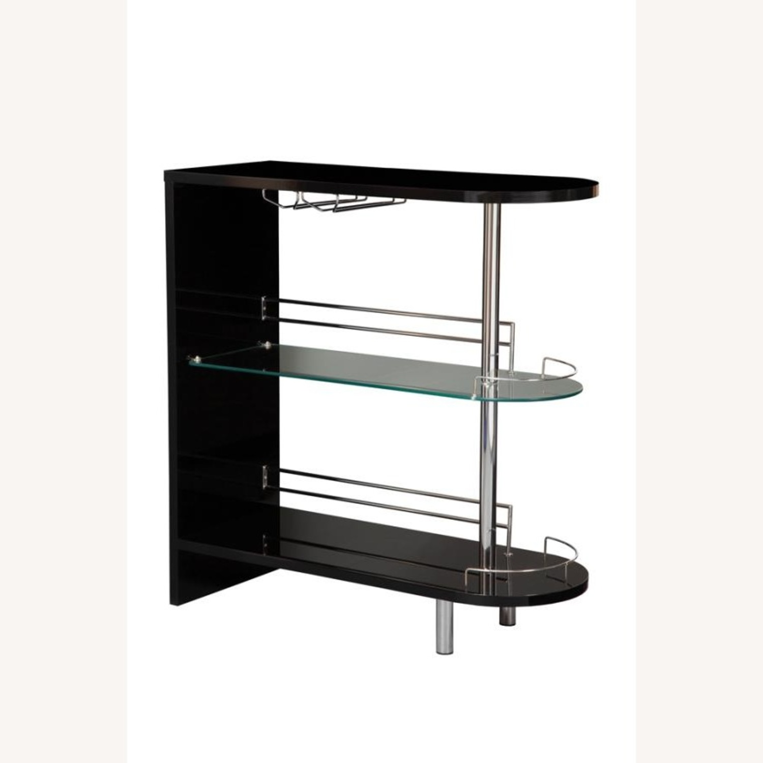 Bar Unit In Glossy Black W/ Rounded Ends - image-0