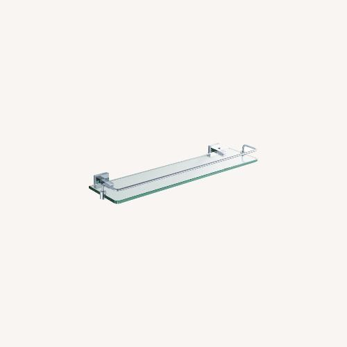 Used KrausUSA Glass Shelf with Chrome Railing for sale on AptDeco