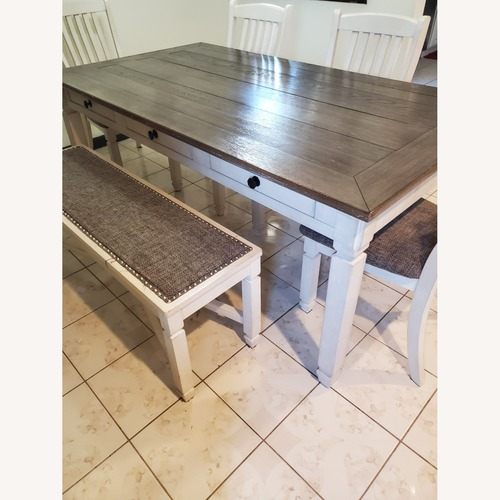 Used New Rustics Ashley Home Dining Table Seats 7 for sale on AptDeco