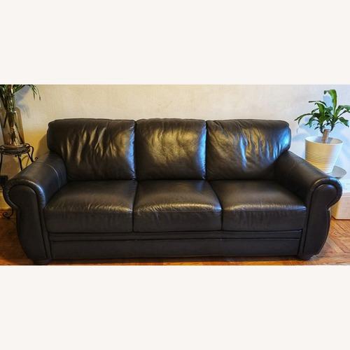 Used Raymour & Flanigan Marsala Leather Sofa for sale on AptDeco