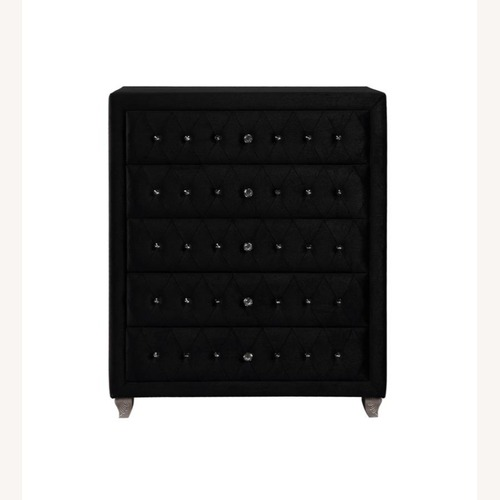 Used Chest In Black Velvet Upholstery W/ Metallic Legs for sale on AptDeco