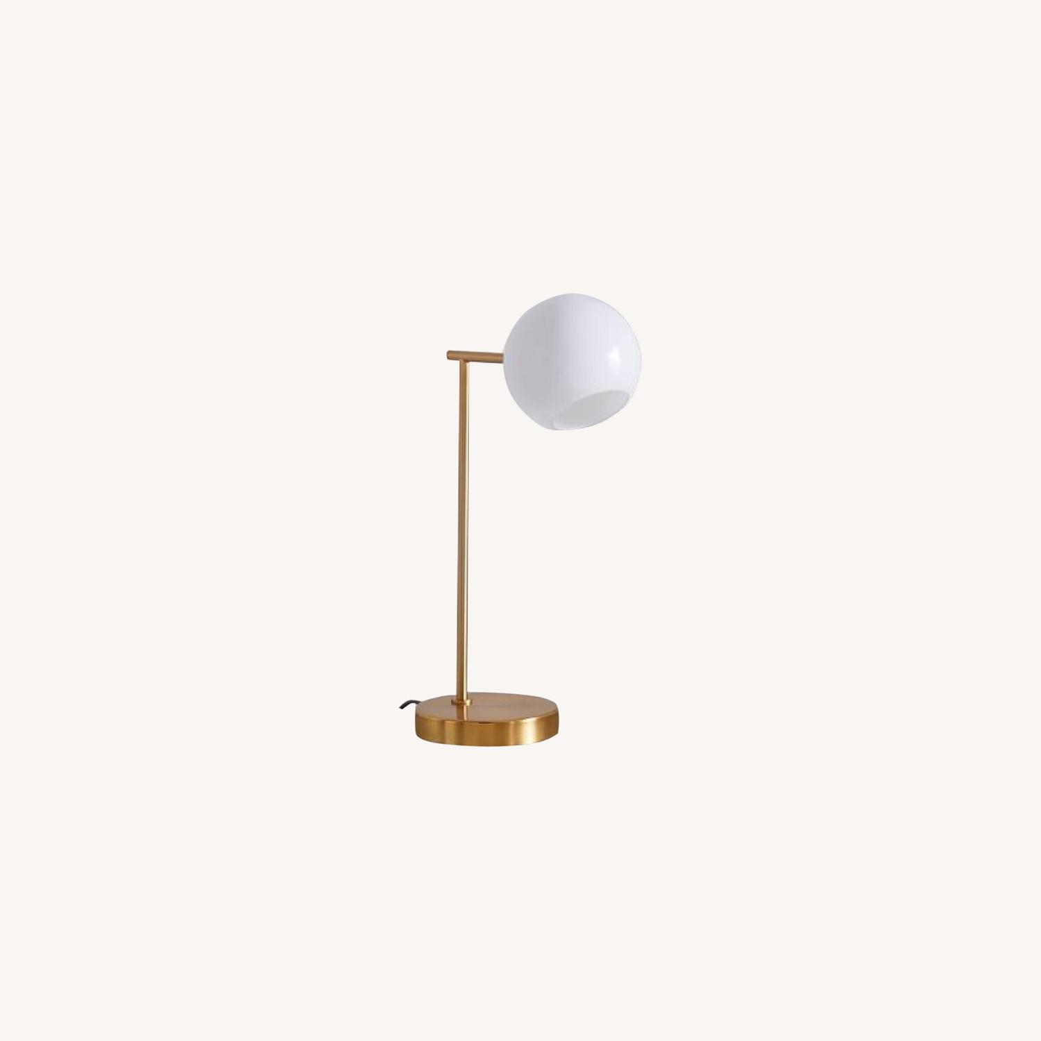 West Elm Staggered Glass USB Table Lamp - Milk - image-0