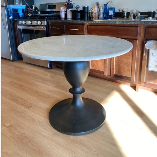 Used Pottery Barn White Marble Table for sale on AptDeco