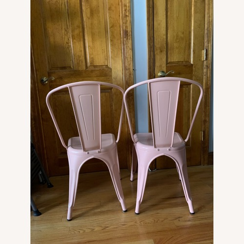 Used Target Pink Metal Dining Chairs, 2 for sale on AptDeco