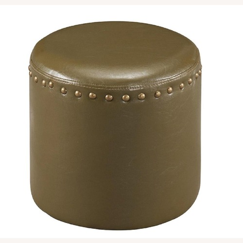 Used Faux Leather Nail Head Trim Ottoman for sale on AptDeco