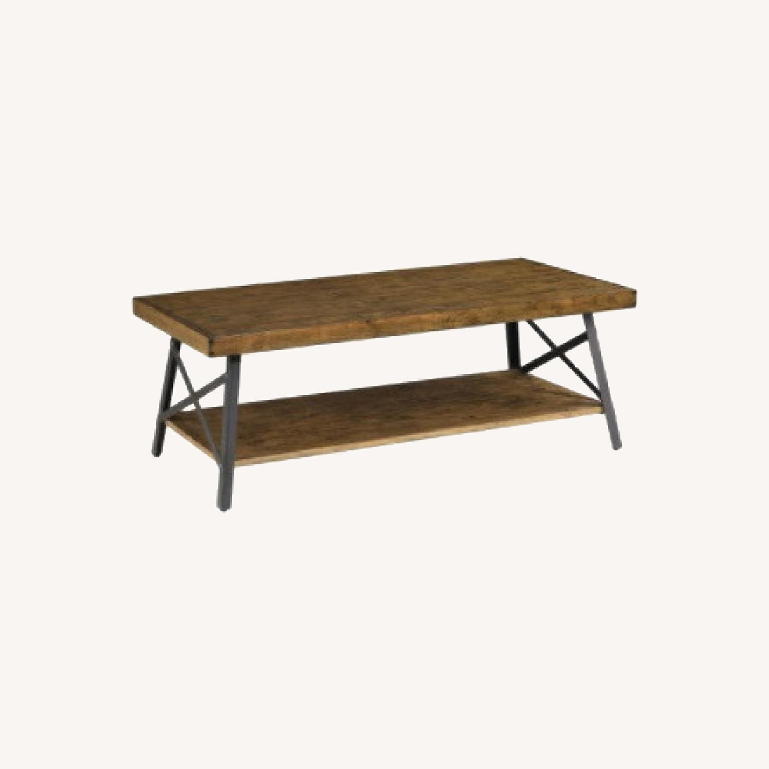 Wood Coffee Table with Metal Legs - image-0