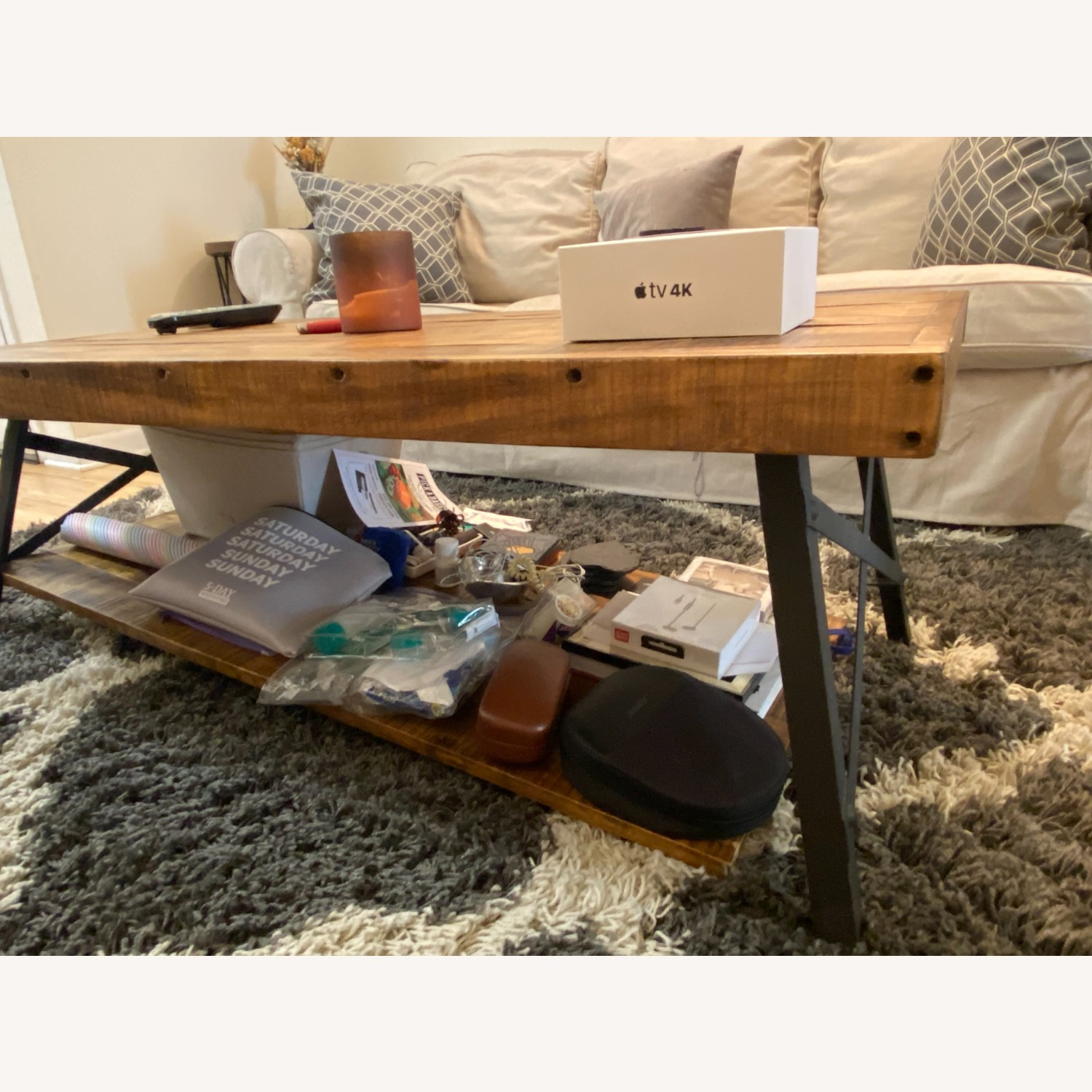 Wood Coffee Table with Metal Legs - image-2