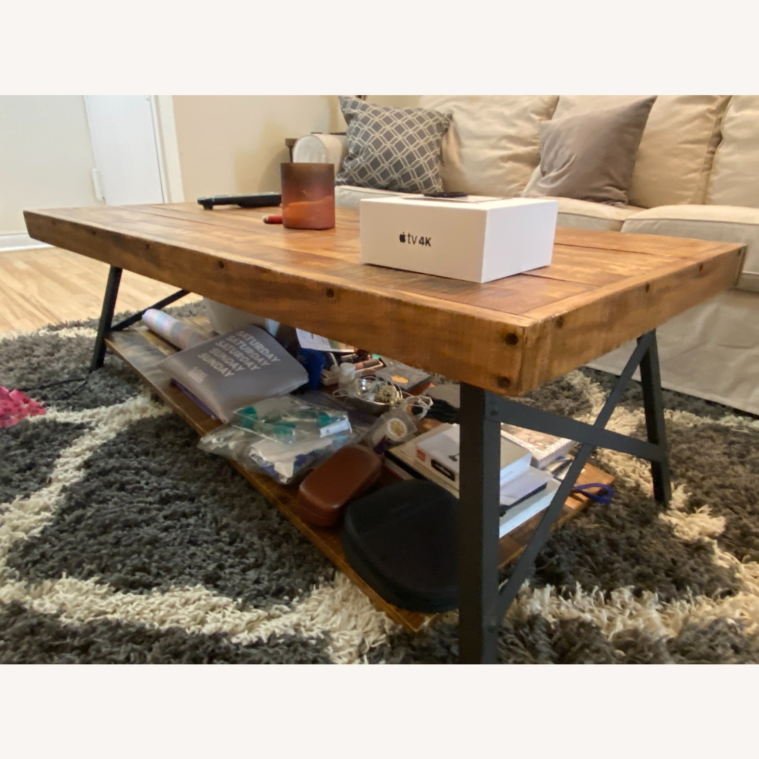 Wood Coffee Table with Metal Legs - image-5