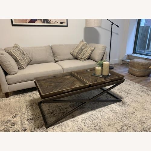 Used Elm Wood & Metal Coffee Table for sale on AptDeco