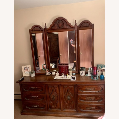 Used Vintage Wood Dresser with Removable Mirrors for sale on AptDeco
