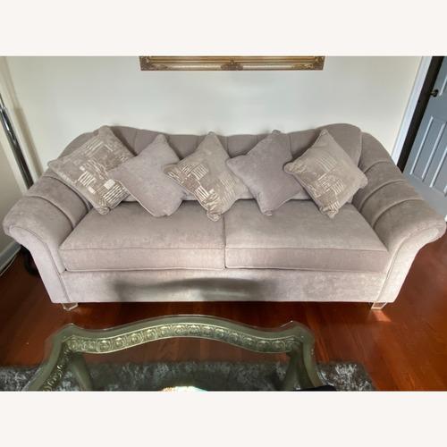 Used Grey Sofa with 5 Pillows for sale on AptDeco