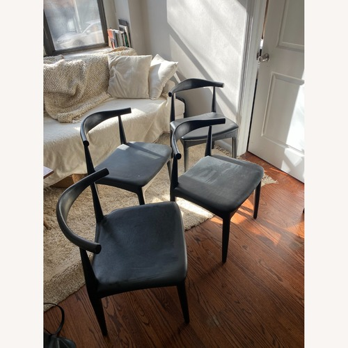 Used France & Son Black Leather/Wood Chair - Set of 4 for sale on AptDeco