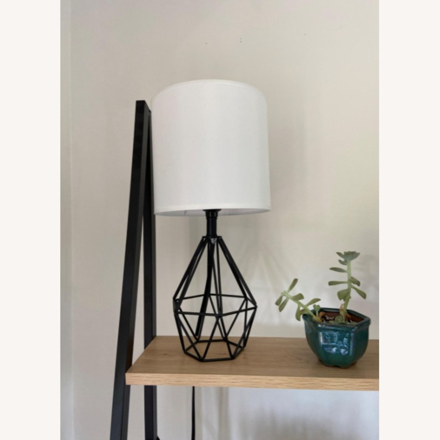 Modern Chic Desk Table Lamp with Black Metal Base - image-3