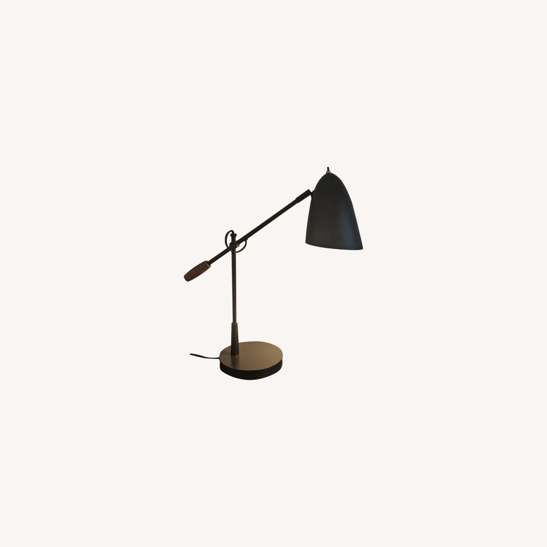 Crate & Barrel Morgan Black Metal Desk Lamp - image-0