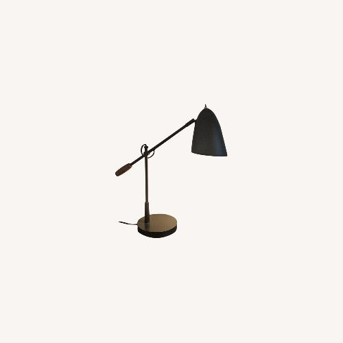Used Crate & Barrel Morgan Black Metal Desk Lamp for sale on AptDeco