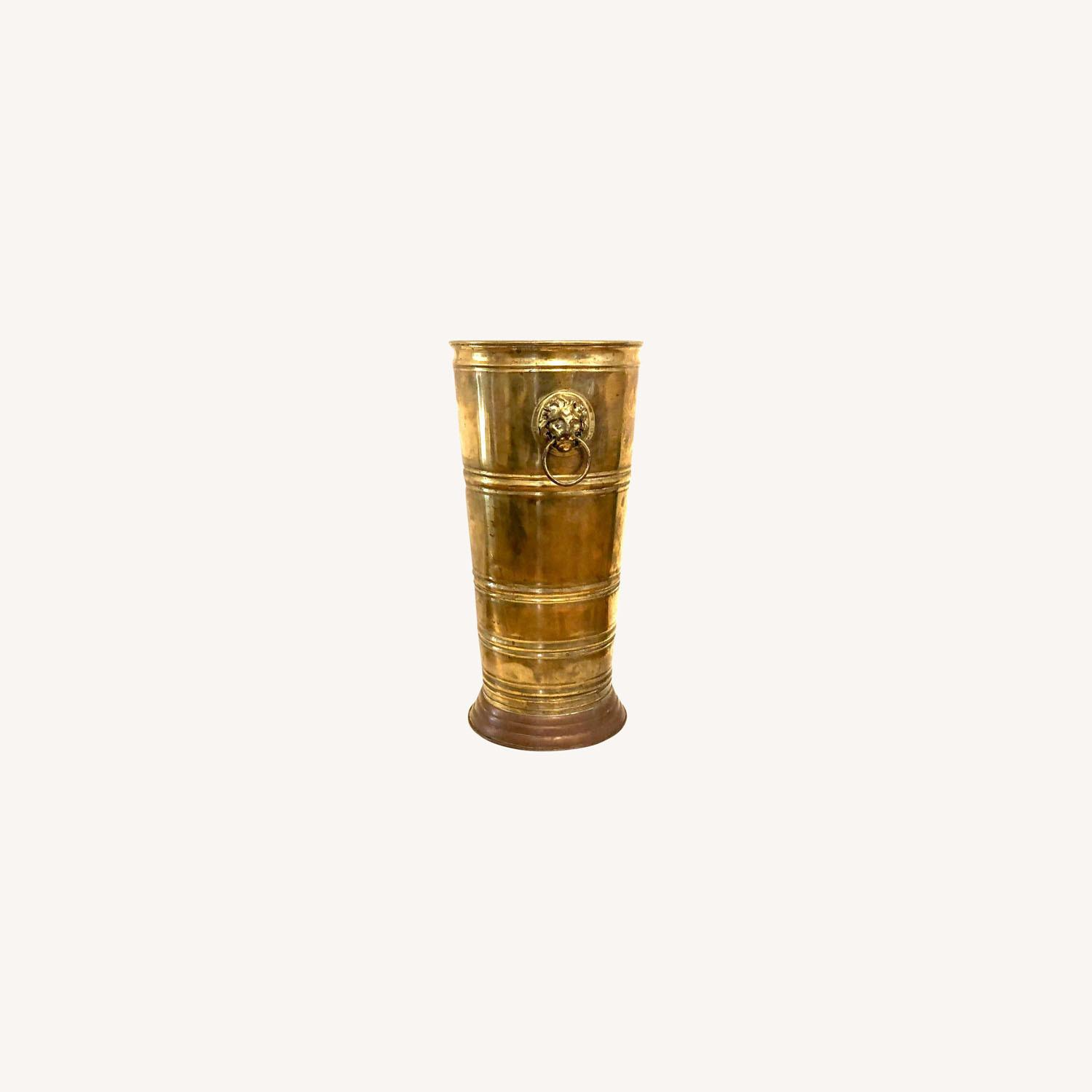 Brass Umbrella Cane Stand with Lion Heads - image-0