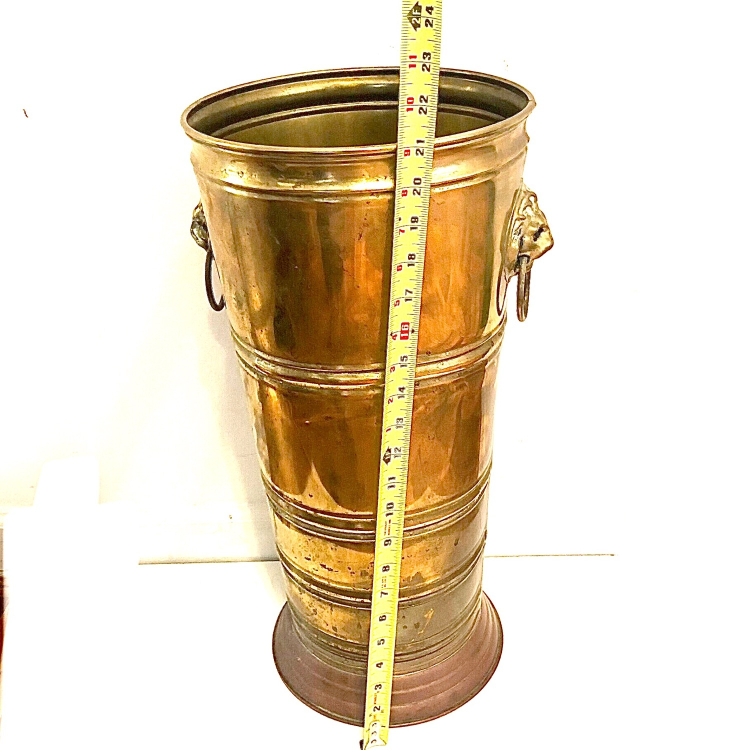 Brass Umbrella Cane Stand with Lion Heads - image-4